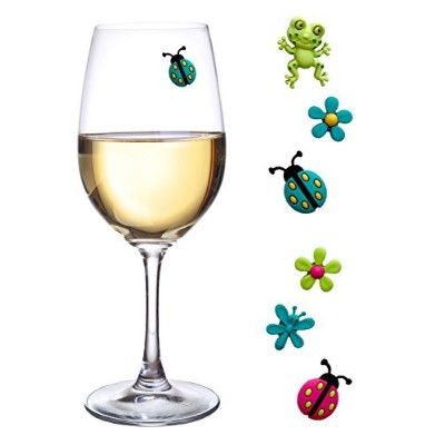 Wine Glass Charms Magnetic Drink Markers Set of 6 Fun Summer Cocktail Identifiers with Ladybug Frog...