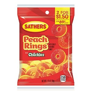 SATHERS ピーチリング グミ(78g)SATHERS Gummi  Peach Rings (2.75)OZ)