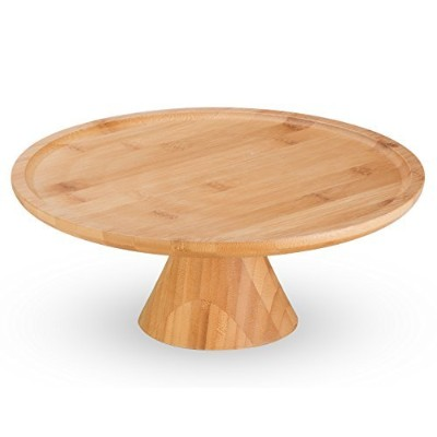 Natural Bamboo Cake Stand by MosesMo: Dessert Pastry Pedestal Round Centrepiece Plate Tray - Unique...