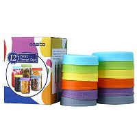 aozita 12Piece ColoredプラスチックMason Jar Lids for Ball and More–6Regular Mouth & 6wide mouth–...