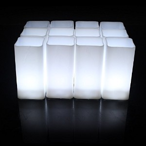 horeset 12pcs Square Flameless CandleイエロープラスチックちらつきLED Tea Lights Faux電池式電動ライト、FAKE LED Candle...