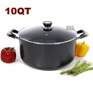 10qt Non Stick Heavy GaugeアルミDutch Oven Casseroleポットガラス蓋新しい
