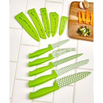 Green Patterned sheathed 5 piece chef knife set