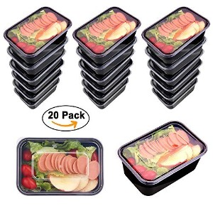 mercimall 20パック32oz Meal Prepコンテナ1コンパートメント弁当ボックスwith Lids電子レンジ& Dishwasher &冷凍庫安全食品コンテナ