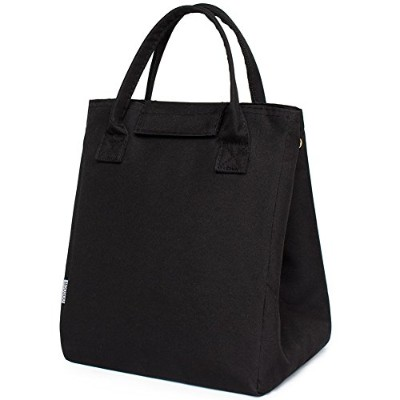 (Black) - Moosoo Reusable Thermal Foldable Lunch Bag Lunch Tote Insulated Lunch Box Picnic Bag...
