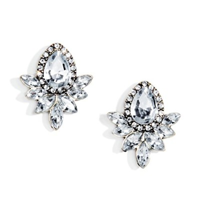Happiness Boutique Women Statement Earrings In Clear Neutral Colour for Wedding Studs Stud Earrings...