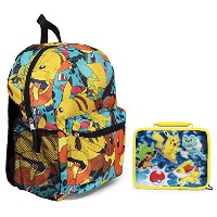 Pokemon Largeバックパックand Insulated正方形ランチバッグLunchbox–キッズ