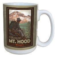 TreeFree Greetings 79401 Hiking On Mount Hood by Paul A. Lanquist Ceramic Mug with Full-Sized...
