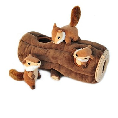 ZippyPaws X-Large Burrow Log and Chipmunks Squeaky Hide and Seek Plush Dog Toy by ZippyPaws