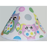 Multi Colored Owl Lamp Shade with Polka Dots / Owl Nursery Decor by Presto Lamp Shades