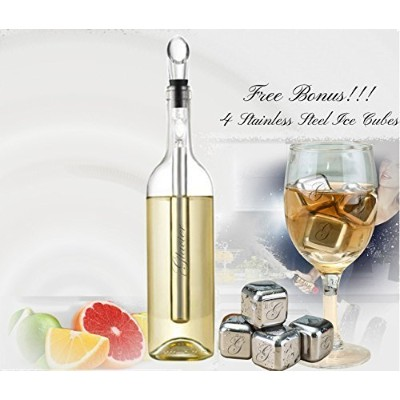 Glaicer Iceless Single Bottle Wine Chiller Stick Aerator and Pourer Set with. Stainless Steel...