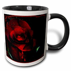 3drose et photography-goth Designs – コンピュータEnchancedゴシックレッドローズ – マグカップ 11-oz Two-Tone Black Mug mug...