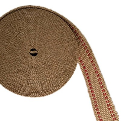 【HEMP SHOW】4cm*10m ジュートウェビング Jute webbing Natural color with red stripes (4cm)