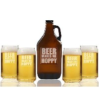 Beer Makes MeホッピービールAmber Growler and can glasses ( Set of 5)