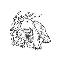 Roaring Bear in Fire、pre-inkedイメージゴム製スタンプ( # 430118) Stamp size (30x30mm) レッド
