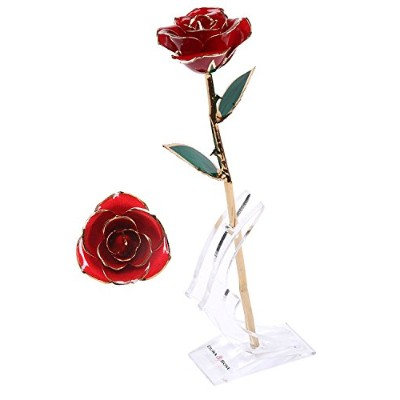 (Adorable Red) - DuraRose Authentic Rose With Stand And Love Card, Stem Dipped In 24k Gold - Best...