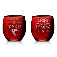 """Foleの2ピースStemlessワインガラスセット、"""" that 's What I Do I Drink and I Know Things """" & """" Mother of Dragons """"..."""