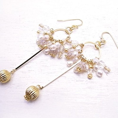 メモリスタジオ[MEMORI STUDIO] [ DEW SERIES #001 ] Circle with a drop pierced earring / White x Pearl de-86...