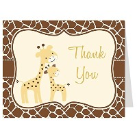 Gentle Giraffe、ベビーシャワー、Thank Youカード、Mommy and Me、動物プリント、複数の色の選択肢、50のセットThank You Notes With...