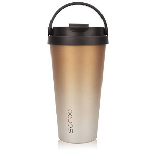 (Ombre Gold) - SOCOO Coffee Travel Mugs With Handle For Women Men 470ml Portable Leakproof Double...