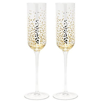 Set of 2 Fizz Gold Dot Champagne Flutes Toast Drinking Wine Glasses Party Supplies Accessories...