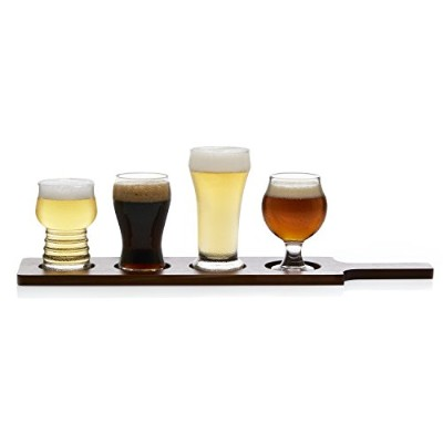 Libbey Craft Brews 4-piece Beer Tasting Glass Set with木製キャリア