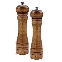"haomacroソリッド木製自動Salt and Pepper mill- 10.5 "" Imperial Pack of 2 ブラウン"