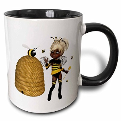 3drose African American – African American Bumble Bee Fairy and Honey Potフローラル – マグカップ 11-oz Two...