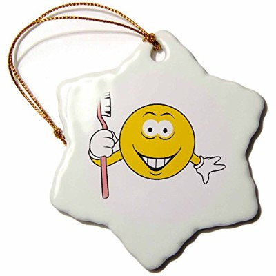3drose Dooni Designs Smiley Face Designs – Clown Smiley Face – Ornaments 3 inch Snowflake Porcelain...