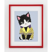 MAY YOUR HOLIDAYS BE THE CAT'S PAJAMAS.(PURPLE & YELLOW) 【三越・伊勢丹/公式】 アート~~絵画~~版画