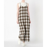 PHEENY/フィーニ-  Rayon ombre check All in one(PS18-OP01) BROWN 【三越・伊勢丹/公式】 レディースウエア~~ワンピース