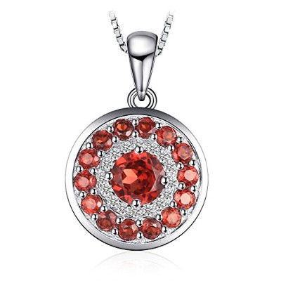 Jewelrypalace 1.29ct レッド 天然石 ガーネット ペンダント ネックレス スターリング シルバー925