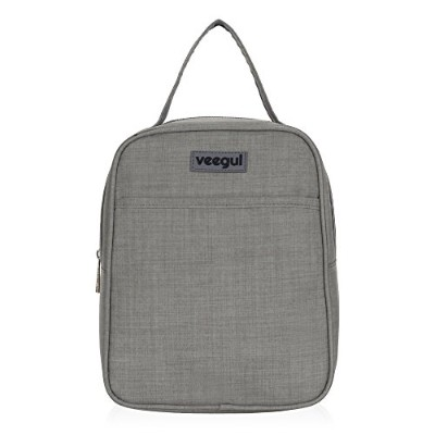 (Gray) - Veegul Recycle Cooler Insulated Lunch bag for Women Men Kids Grey