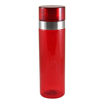 (Red) - Liquid Logic Vortex Tritan Bottle with Stainless Steel Rim and Screw-Off Lid, 770ml, Red