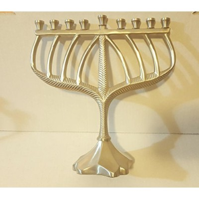 (Pewter Finish) - Beautiful Traditional Classy Menorah (Pewter Finish)