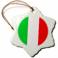 3dローズ旗 – イタリア国旗 – Ornaments 3 inch Snowflake Porcelain Ornament orn_4561_1