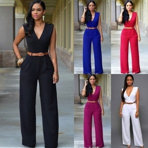 Plus Size Sexy Women Deep V Wide Leg Jumpsuits Sleeveless Bodycon Clubwear Rompers with Belt