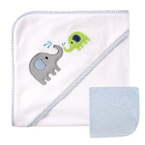 Luvable Friends Hooded Towel and Washcloth, Blue Elephant by BabyVision [並行輸入品]
