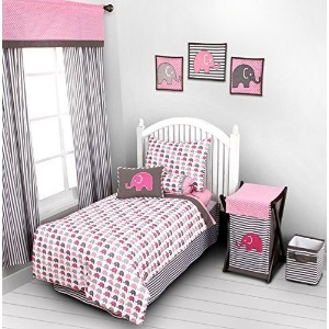 Elephants Pink/Grey 4 pc Toddler Bedding Set by Bacati [並行輸入品]