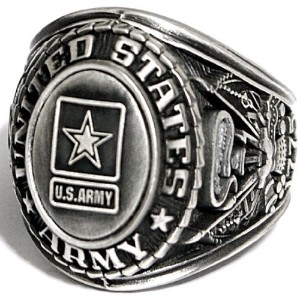 US Army記章リング シルバーカラー 退役軍人リング ミリタリーグッズ