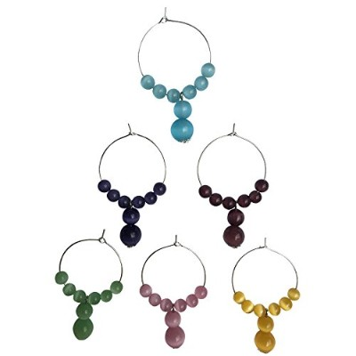 (6, unique cats eye 10mm bead) - Beaded Chalcedony Wine Glass Charmers in Assorted sets (unique...