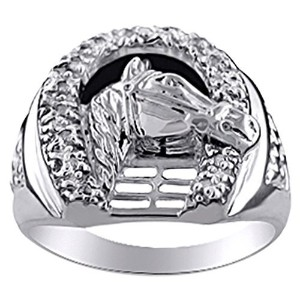 Lucky Horseshoe Horse Head Ring with Diamondsで設定スターリングシルバー925