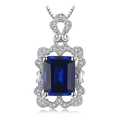 JewelryPalace 贅沢 4.3ct 人工 サファイア ネックレス ペンダント スターリング シルバー925 チェーン 45cm