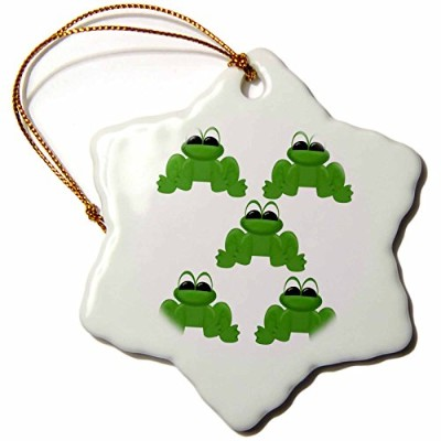 3drose TNMGraphics動物–Five Frogs–Ornaments 3 inch Snowflake Porcelain Ornament orn_25977_1