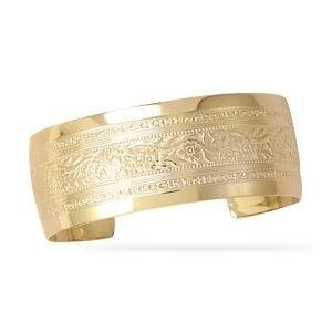Floral Cuffブレスレット金メッキ24mm–Made in the USA