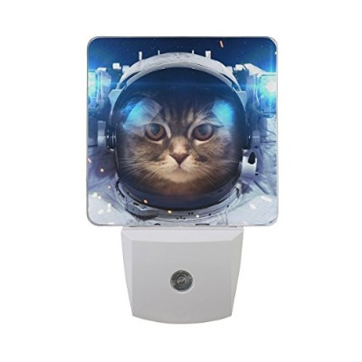 naanle Cat Outer Space Blue Galaxy自動センサーLED Dusk to Dawnナイトライトプラグinインドアfor Adults
