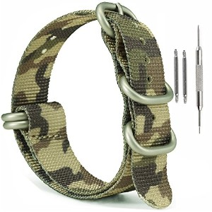 MilitaryナイロンZulu時計ストラップ、ownitow 20mm 22mm 24mm陸軍グリーン手首腕時計バンドwithスプリングバーfor Men and Women 24mm