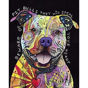 Beware of Pit Bulls They Will Steal Your Heartアートプリントby Dean Russo抽象カラフルモダンコンテンポラリー犬壁装飾18 x 22ポスター
