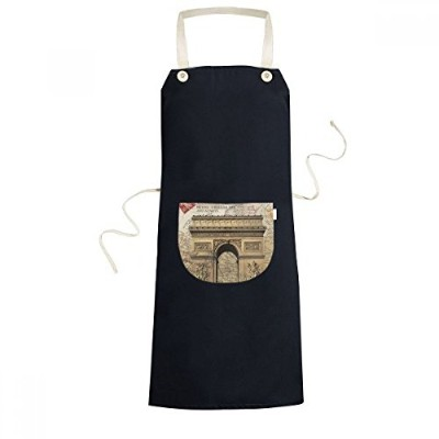 Arch Of Triumphal Best Wishes France Country Culture Cooking Kitchen Black Bib Aprons With Pocket...