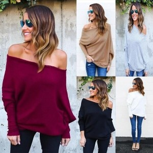 Women Off Shoulder Knitted Tops Sexy Loose Batwing Long Sleeve Sweater Pullover Jumper Knitwear Outw